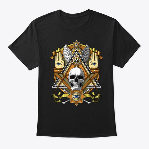 Masonic Skull Black T-Shirt Front