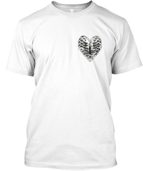 Heart Ribs White T-Shirt Front