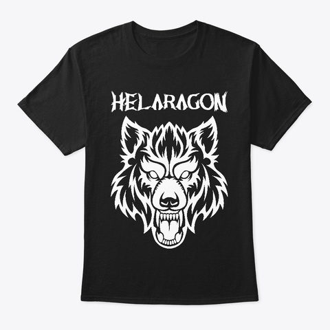 Helaragon Wolf Black T-Shirt Front