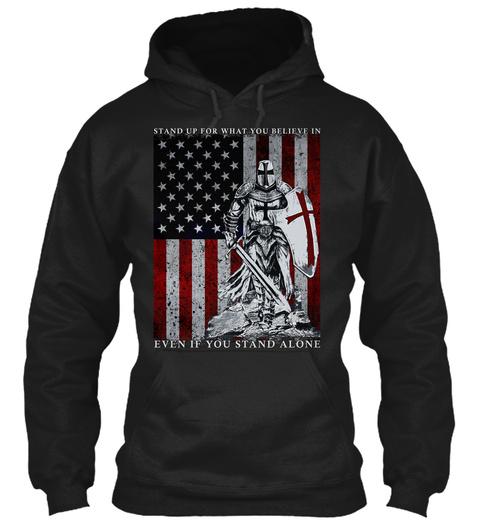 Crusader   Knight Templar Warrior Shirt Black T-Shirt Front
