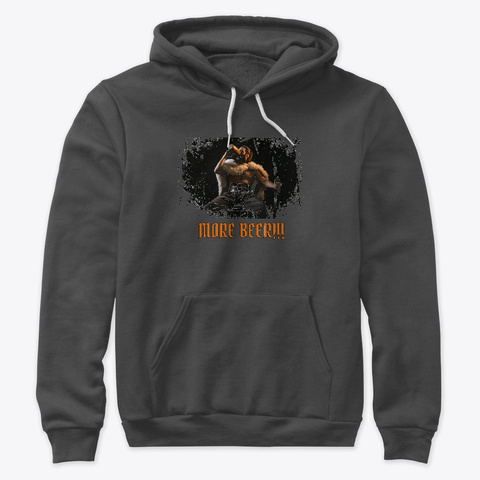 Drunk Viking: More Beer!!! Dark Grey Heather T-Shirt Front