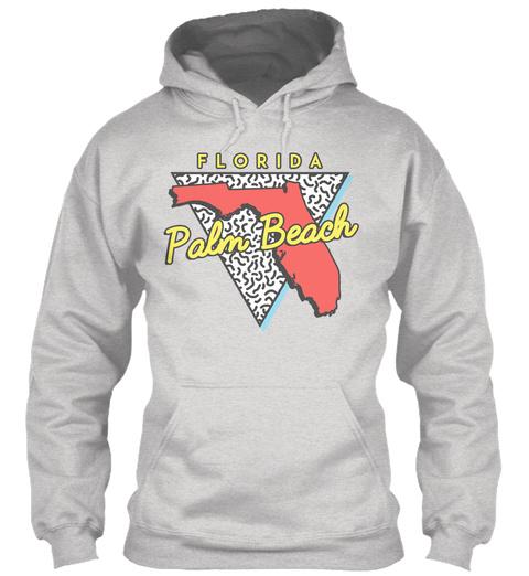 Palm Beach Florida Map Souvenir Ash Grey T-Shirt Front