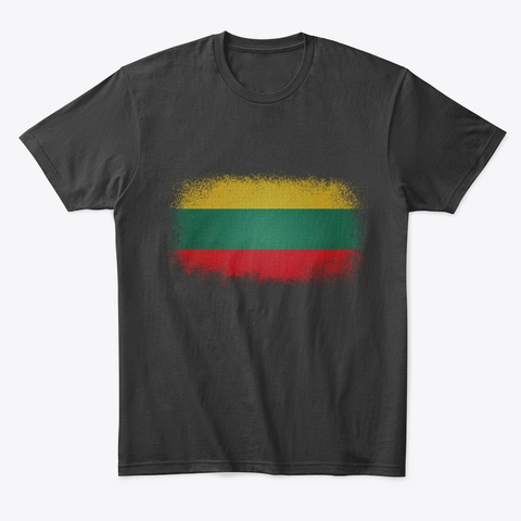 Artistic Lithuanian Flag Black T-Shirt Front