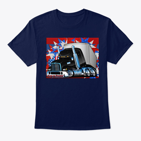 Patriotic Keep America Trucking Tee  Navy T-Shirt Front