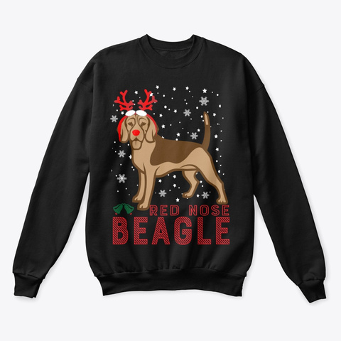 Beagle Dog Christmas Sweater Black T-Shirt Front