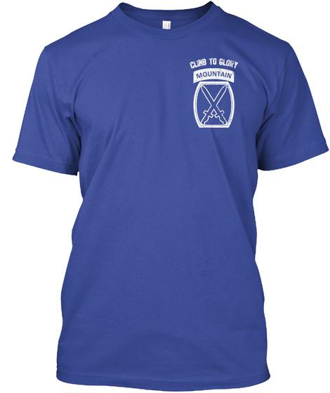 Climb To Glory Mountain Deep Royal T-Shirt Front