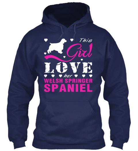 Welsh Springer Spaniel Gift Shirt Navy T-Shirt Front