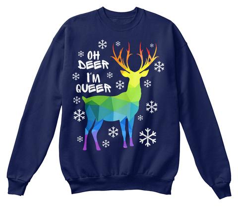 Oh Deer I'm Queer Navy  T-Shirt Front