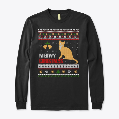 Meowy Holiday Sweater Black T-Shirt Front