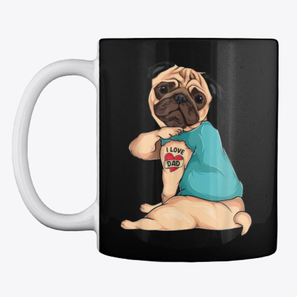 Dog Has Tattoo I Love Dad Pug for Best Dog Father