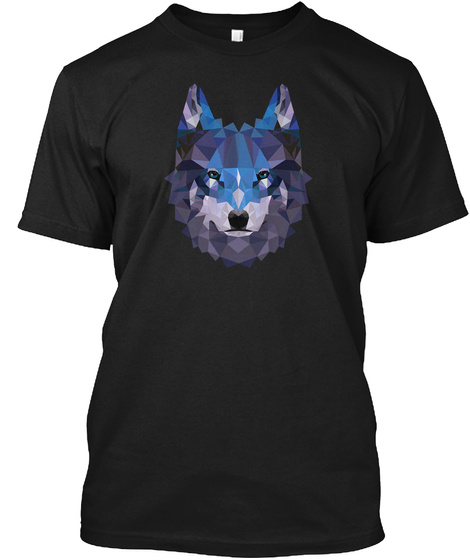 Wolf Polygonal Face  Black T-Shirt Front