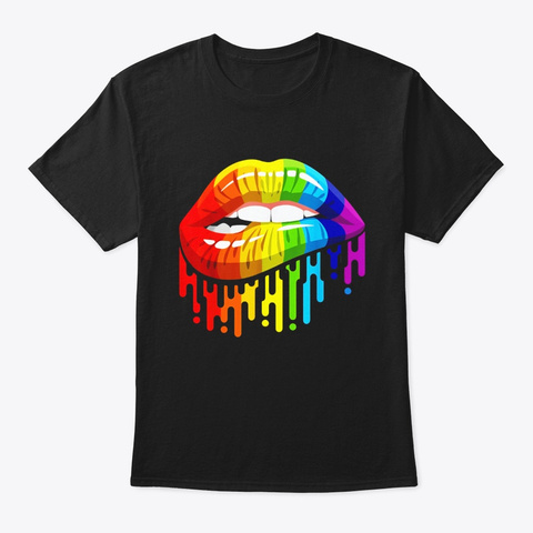 Lgbt Rainbow Lips Pride For Gay Black T-Shirt Front