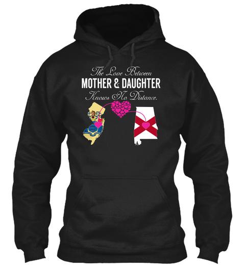 Mother Daughter   New Jersey Alabama Black T-Shirt Front