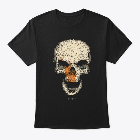 Skull Cyprus Flag Skeleton Black T-Shirt Front