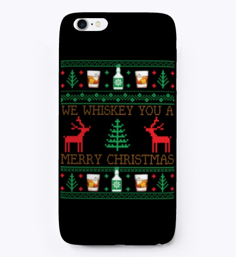 Whiskey Drinking Ugly Christmas Sweater Black T-Shirt Front