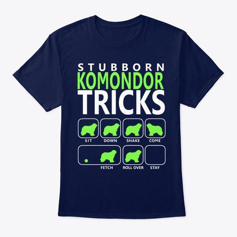 Stubborn Komondor Tricks Navy T-Shirt Front
