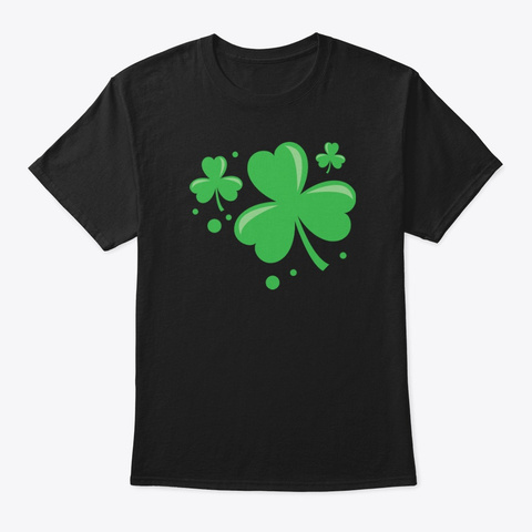 Irish Shamrock Pocket Size Clover St. Black T-Shirt Front