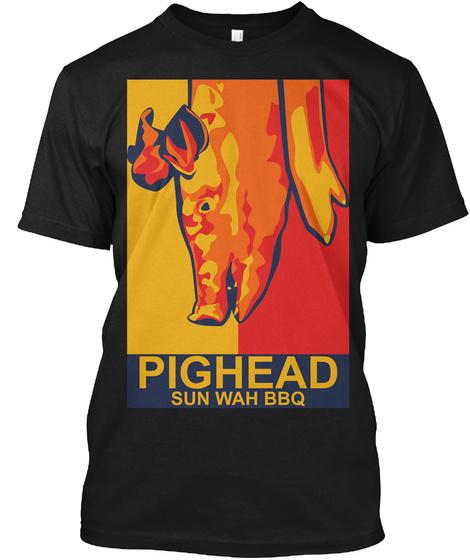 Pighead Sun Wah Bbq Black T-Shirt Front