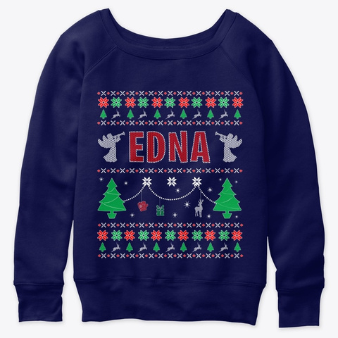 Xmas Themed Personalized For Edan Navy  T-Shirt Front