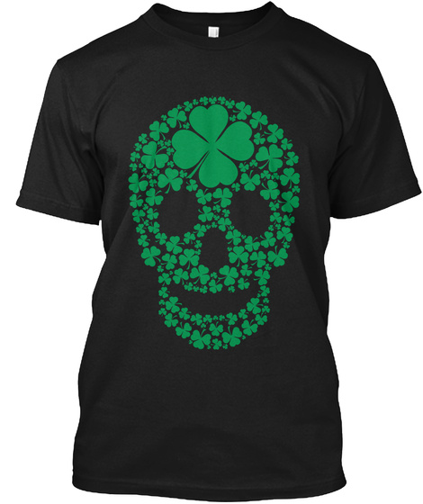 St Patricks Day Shamrocks Skull T Shirt Black T-Shirt Front