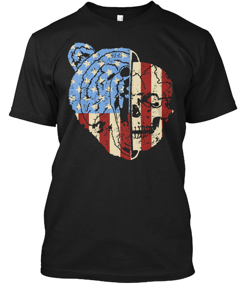 Patriotic Bear Black T-Shirt Front