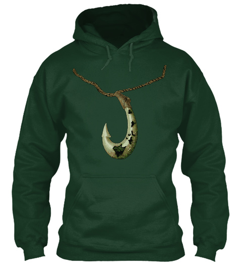 Maui's Magical Hook 2.0 Hoodie Forest Green T-Shirt Front
