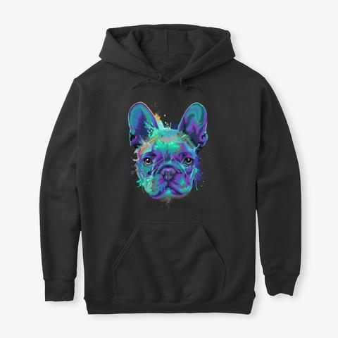 French Bulldog Splash Art Black T-Shirt Front
