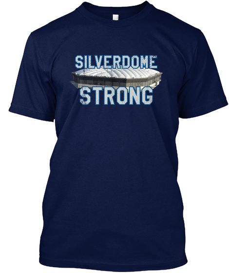 Silverdome Strong Detroit Football Gear  Navy T-Shirt Front