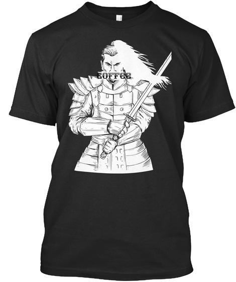 Samurai Warrior Loves Coffee  Black T-Shirt Front