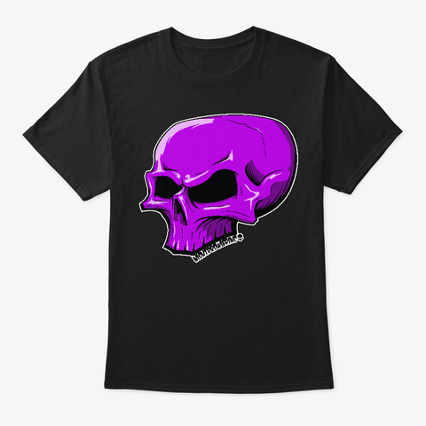 Pointy Purple Skull Black T-Shirt Front