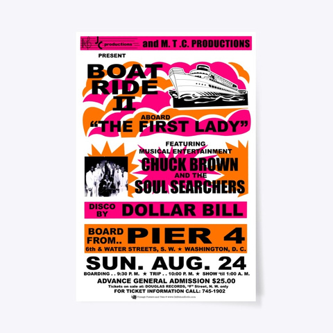 Chuck   Boat Ride   Poster White T-Shirt Front
