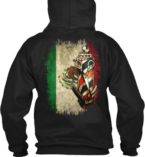 Barber Pole   Mexican Flag Black T-Shirt Back