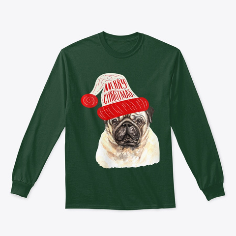 Womens Black Base Funny Pug Christmas Forest Green T-Shirt Front