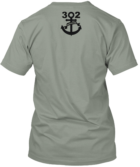 302 Awesome Striped Bass Shirt  Grey T-Shirt Back
