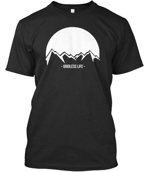 Gridless Life Mountain Tee Black T-Shirt Front