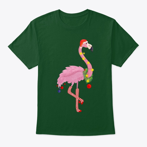 Cute And Fun Tropical Flamingo Christmas Deep Forest T-Shirt Front