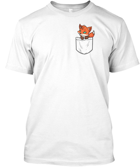 Pocket Fox White T-Shirt Front