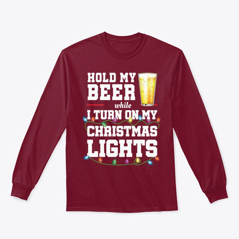 Christmas Lights Shirt Gift Hold Beer Cardinal Red T-Shirt Front