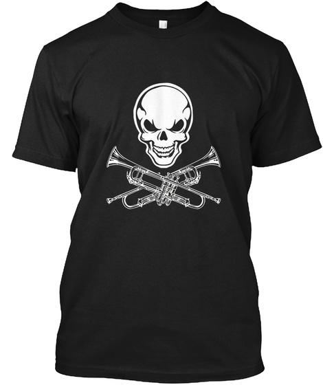 Skull Trumpet Funny Instrument Black T-Shirt Front