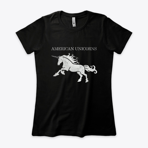 American Unicorns Grunge Black T-Shirt Front