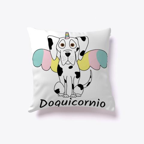 "Cojín ""Doguicornio"" White T-Shirt Front"