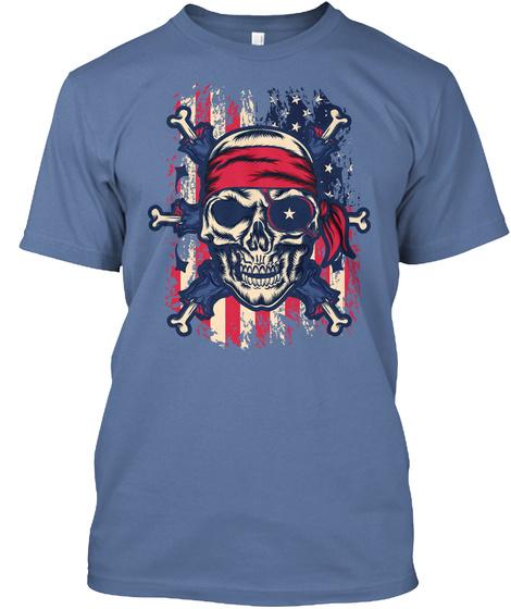 American Pirate Face Denim Blue T-Shirt Front