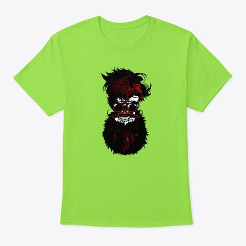 Spider   Skull Bearded Hipster Beard Mu Lime T-Shirt Front