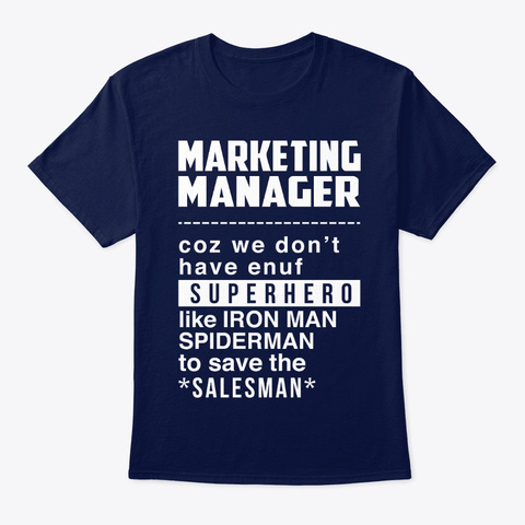 Superhero Marketing Managers Navy T-Shirt Front