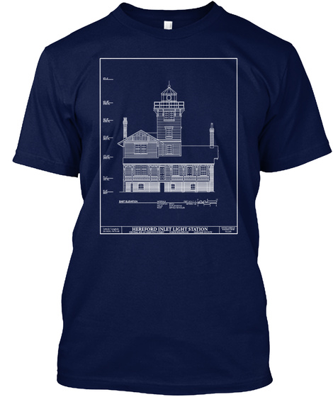 Hereford Inlet Light Station Navy T-Shirt Front