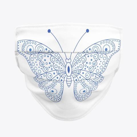Blue Line Art Butterfly Print Standard T-Shirt Front