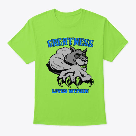 Greatness Lives Within  Logo Lime T-Shirt Front