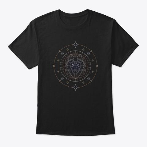 Symmetrical Wolf Black T-Shirt Front