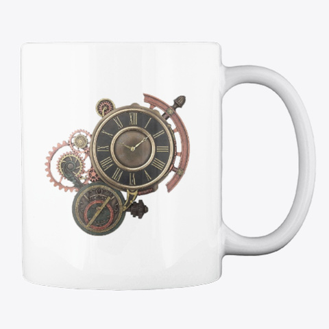Steampunk Cup White T-Shirt Back