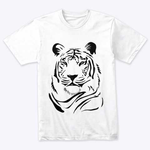 Wonderful Tiger Clothes And Accessories Heather White T-Shirt Front